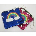 reversible sequin rainbow coin purse