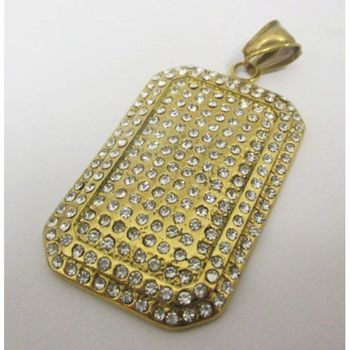 gold plated crystal plaque pendant
