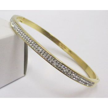 gold steel bracelet with rhinestone row