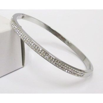 Fashion Two Row Crystal: steel bracelet