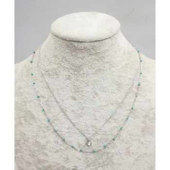 Necklace Double Chain Pendant Crystal Steel Beads