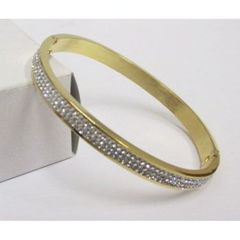 golden bangle bracelet adorned with rhinestones
