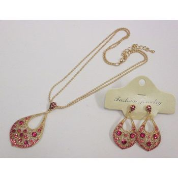 fushia necklace earring oriental