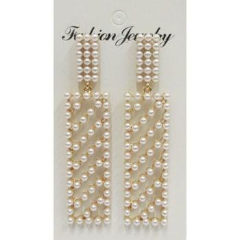 earrings rectangle mini pearl