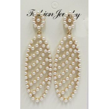 mini pearl racket earring
