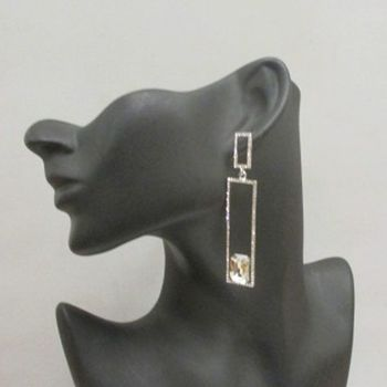 boucles d'oreilles strass cristal rectangle
