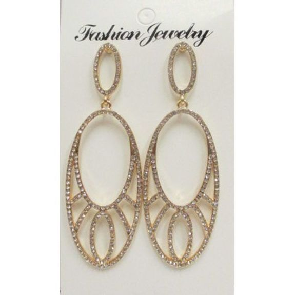 dangling earrings with rhinestones and crystal