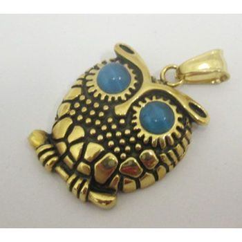 gold blue eye owl pendant