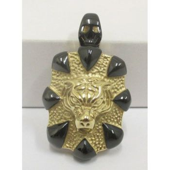 two-tone lion pendant