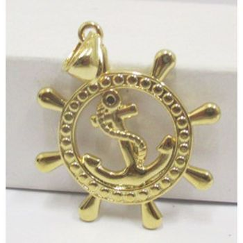 marine anchor pendant gold steel
