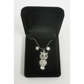 owl earring necklace in his box