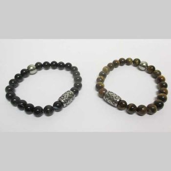 man couple steel bracelets with natural stones