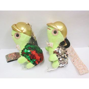 keychain plush tortoise sequin reversible