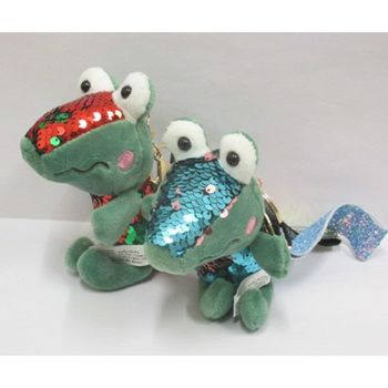 keychain plush crocodile spangle reversible