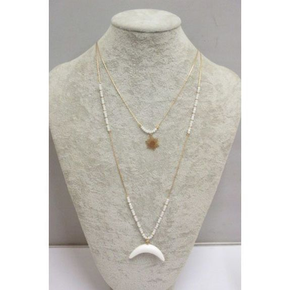 double moon crescent star necklace
