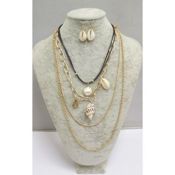multi chain jewelry with seashells
