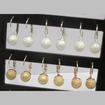 spangle ball earrings, silver and gold for the party