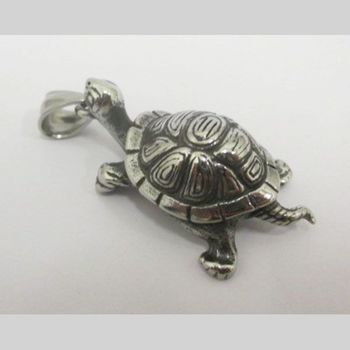 steel turtle pendant