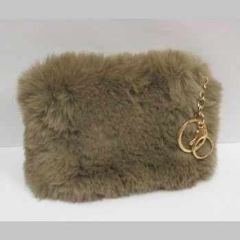 faux fur wallet brown