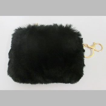small leather black fur zip