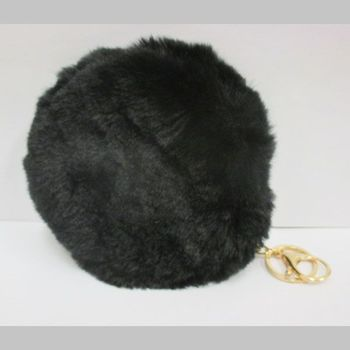 round purse black fur purse