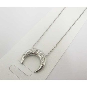 Crescent Moon Necklace Jewelry Covered with Rhinestones