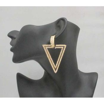Triangle - Women's Crystal Gold Earrings