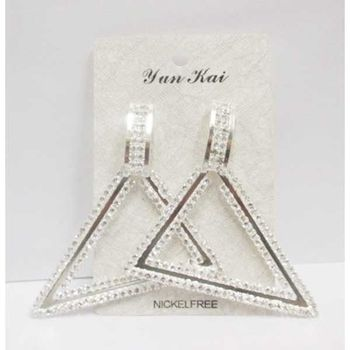 rhinestone triangle pyramid earring