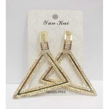 geometric triangle rhinestone loop