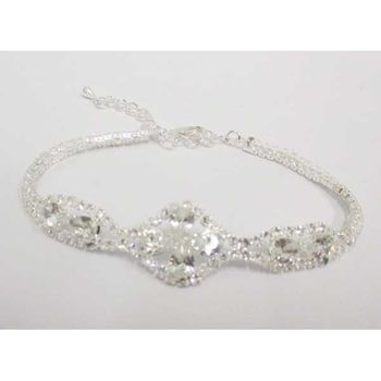 rhinestone crystal flower woman bracelet
