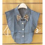 faux collar shirt Jean with crystal