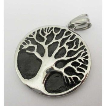 steel tree of life email pendant