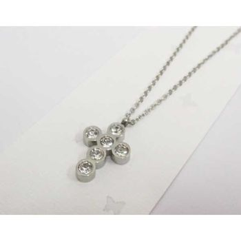 jewelry necklace cross crystal steel