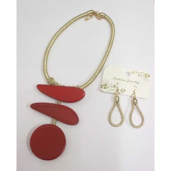 red resin necklace