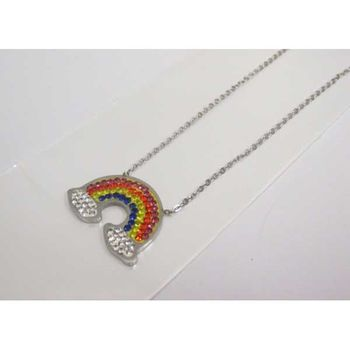 steel rainbow necklace jewelry