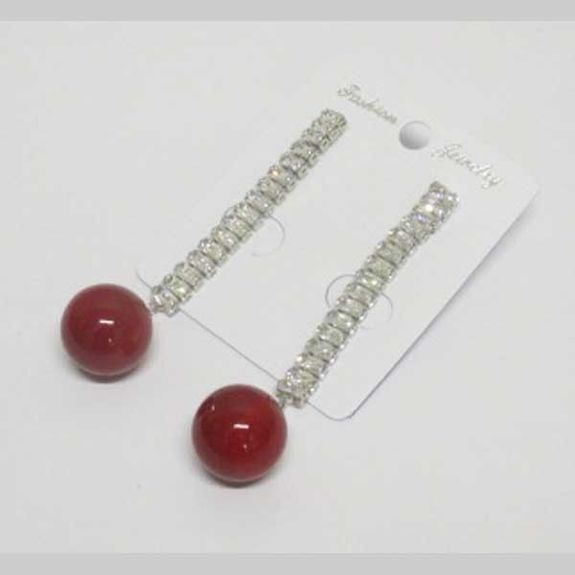 red pearl ball in ear hanging