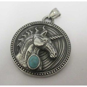 pegasus pendant with blue stone