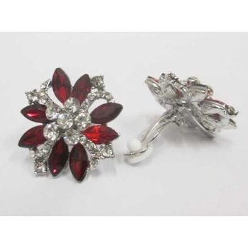 red crystal clip on earrings