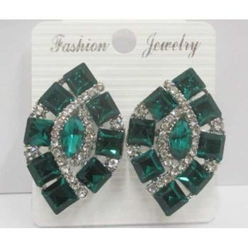 diamond earrings with green clip