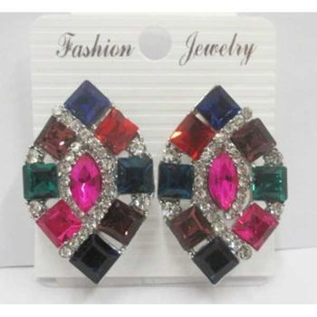 multicolored diamond rhombus necklace earrings