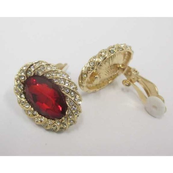 golden red crystal clip on earrings