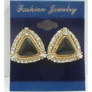 boucle oreille pince triangle cristal