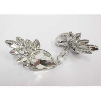crystal clip earring with small