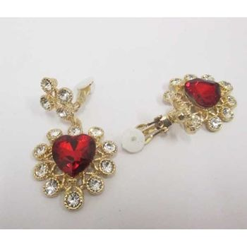 earrings pendant clips heart red crystal