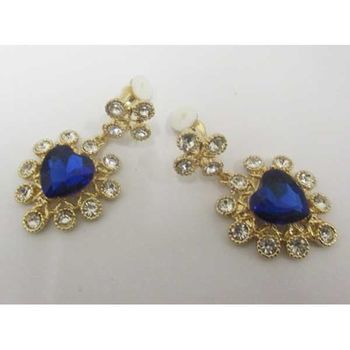 Crystal blue heart pendant earrings