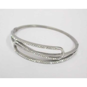 Crystal steel bangle bracelet that opens