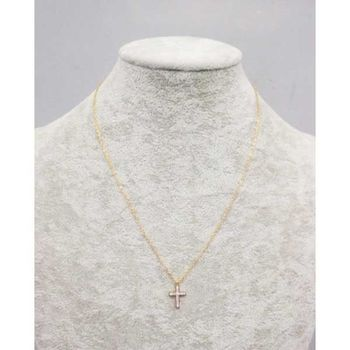 steel cross pendant decorated with crystal