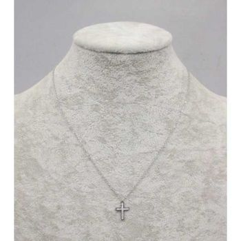 small crystal steel cross pendant