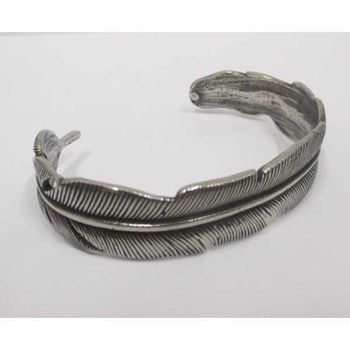 men's steel feather cuff bracelet