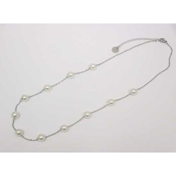 necklace steel chain pearl woman
